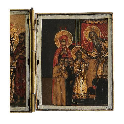 Triptyque icône de voyage détrempe Russie 1700 10x20 cm 4