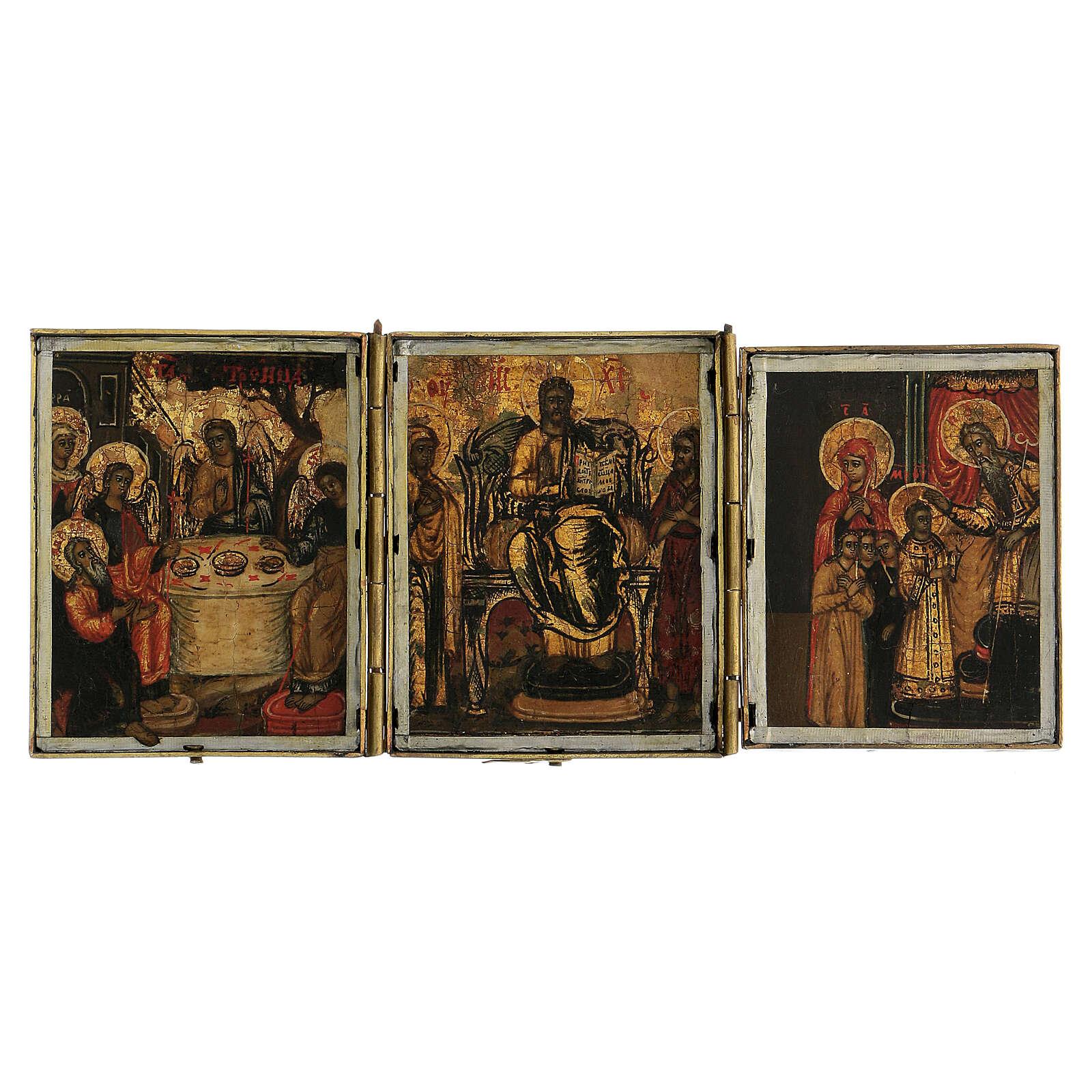 Trittico icona da viaggio in tempera Russia 1700 10x20 cm 4