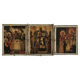Trittico icona da viaggio in tempera Russia 1700 10x20 cm s1