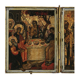 Trittico icona da viaggio in tempera Russia 1700 10x20 cm s3