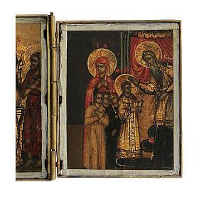 Trittico icona da viaggio in tempera Russia 1700 10x20 cm s4