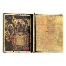 Trittico icona da viaggio in tempera Russia 1700 10x20 cm s6