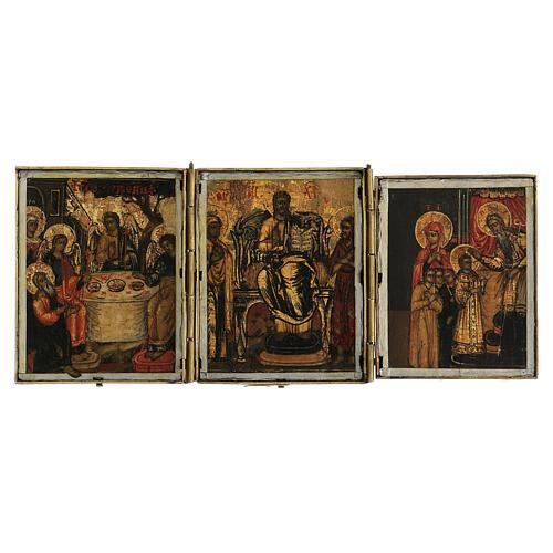 Trittico icona da viaggio in tempera Russia 1700 10x20 cm 1