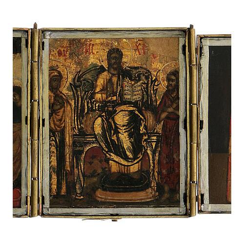 Trittico icona da viaggio in tempera Russia 1700 10x20 cm 2