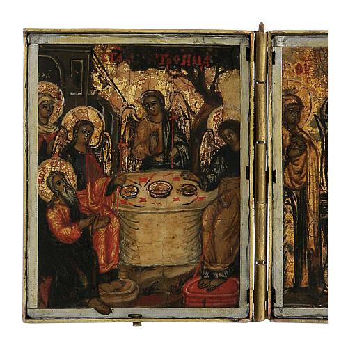 Trittico icona da viaggio in tempera Russia 1700 10x20 cm 3