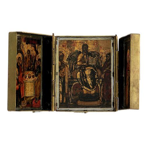 Trittico icona da viaggio in tempera Russia 1700 10x20 cm 5