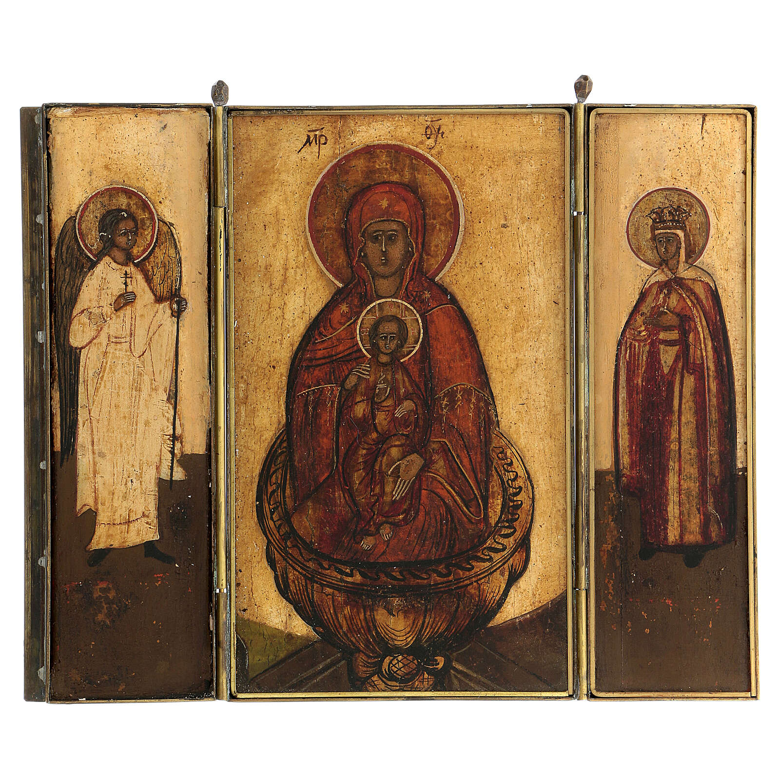 Trittico fonte di vita da viaggio Russia XVIII sec 20x20 cm 4