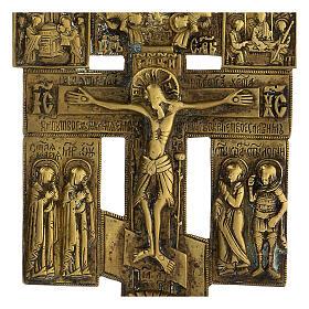 Crucifix bronze fêtes orthodoxes Russie XIX siècle 20x10 cm s2