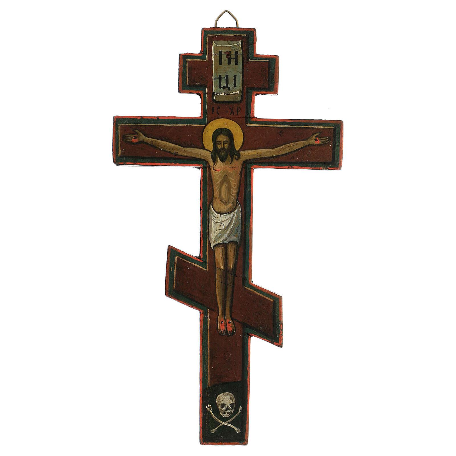Crocifisso bizantino ligneo Russia XVIII sec 25x15 cm 4