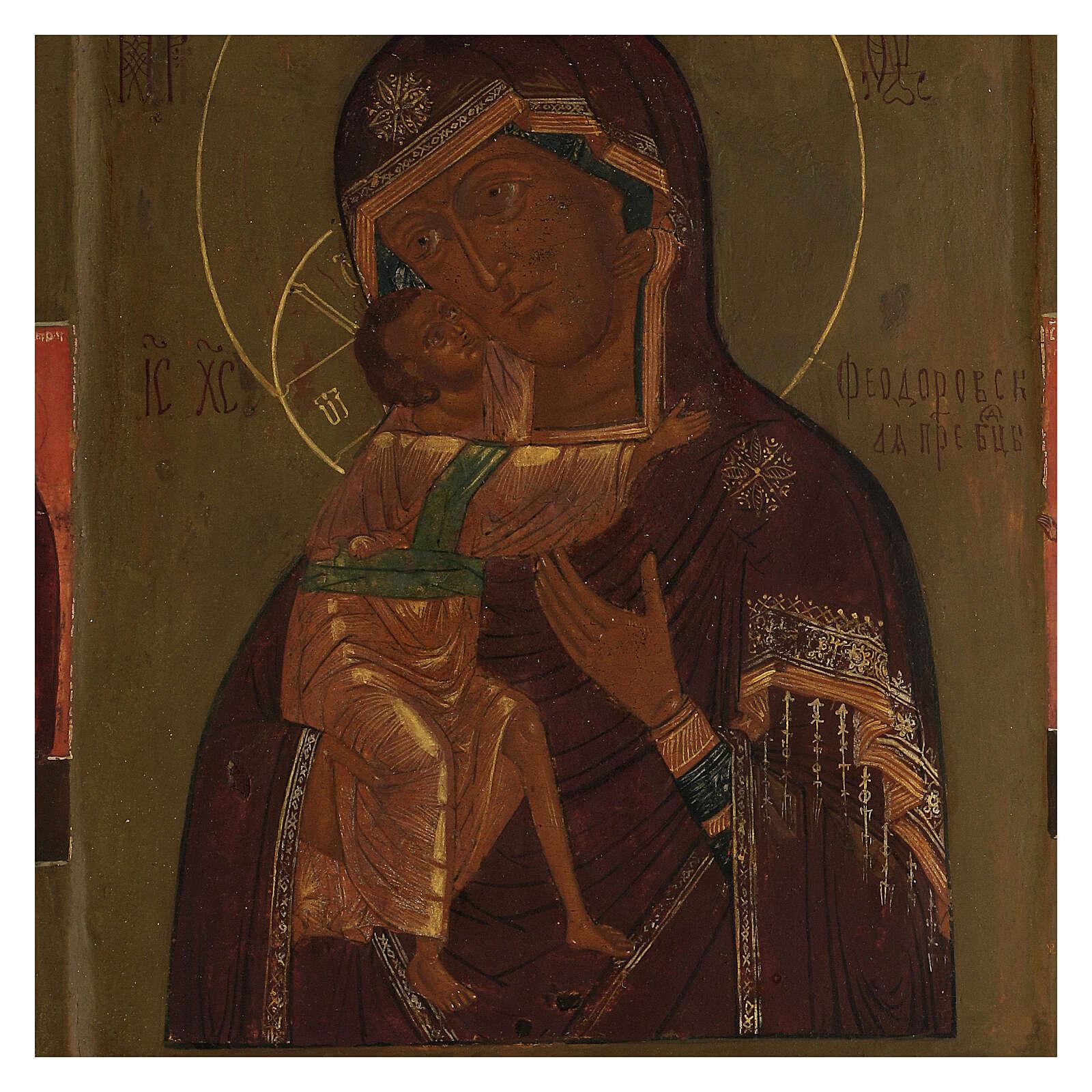 Madonna di Feodorov icona antica russa XVIII sec 30x20 cm 4