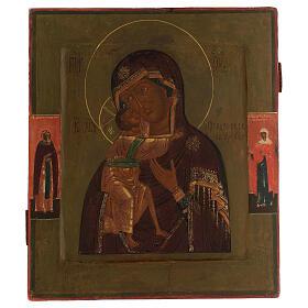 Madonna di Feodorov icona antica russa XVIII sec 30x20 cm s1