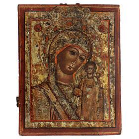 Icône ancienne Vierge de Kazan Russie XVIII siècle 40x30 cm s1
