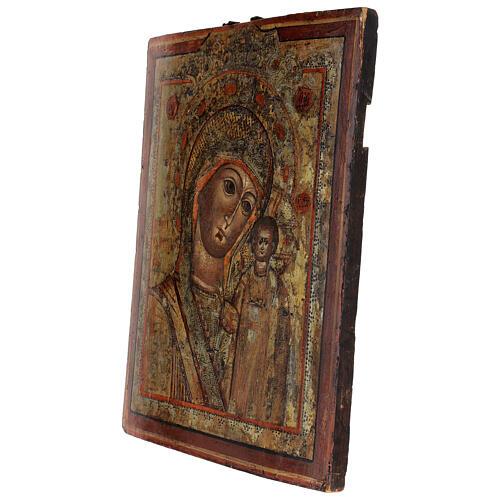 Icône ancienne Vierge de Kazan Russie XVIII siècle 40x30 cm 3
