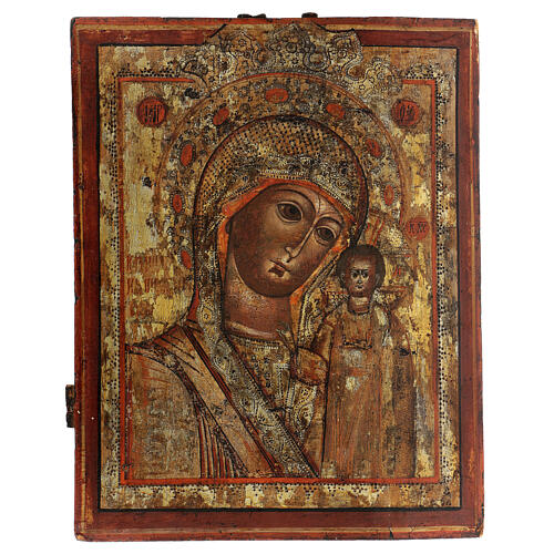 Icona antica Madonna di Kazan Russia 1700 40x30 cm 1