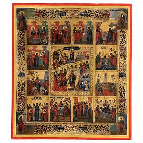 Icona antica Dodici Feste fondo oro Russia XIX sec 40x30 cm s1