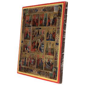 Icona antica Dodici Feste fondo oro Russia XIX sec 40x30 cm s5