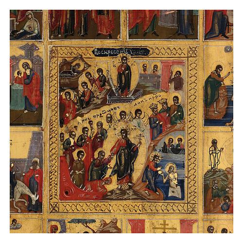 Icona antica Dodici Feste fondo oro Russia XIX sec 40x30 cm 2