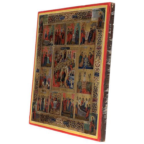 Icona antica Dodici Feste fondo oro Russia XIX sec 40x30 cm 5