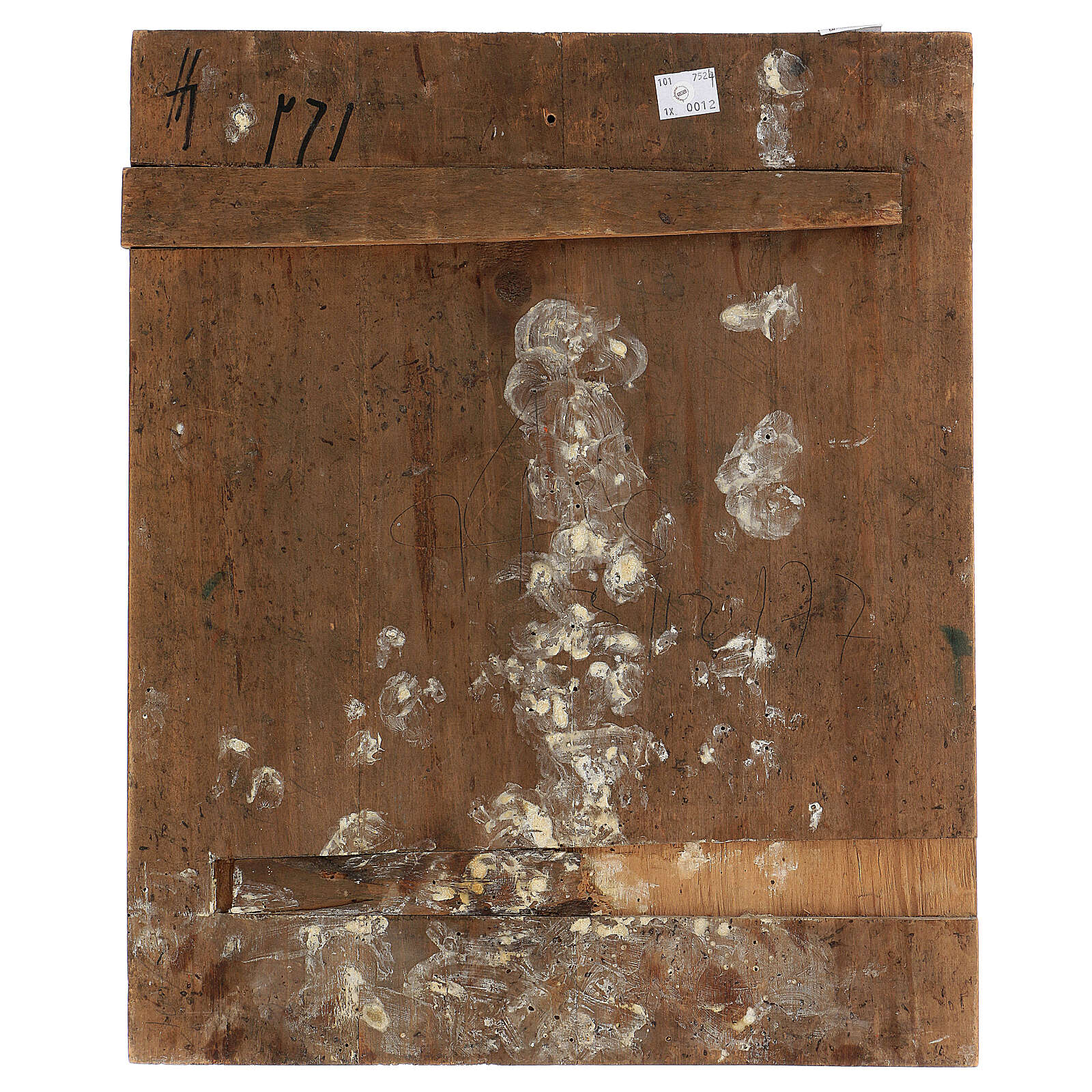 Stauroteca icona antica Russia legno metallo XIX sec 40x30 cm 4
