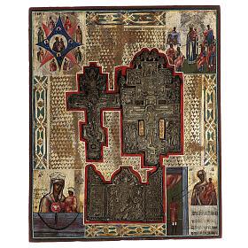 Stauroteca icona antica Russia legno metallo XIX sec 40x30 cm s1