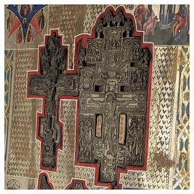 Stauroteca icona antica Russia legno metallo XIX sec 40x30 cm s2