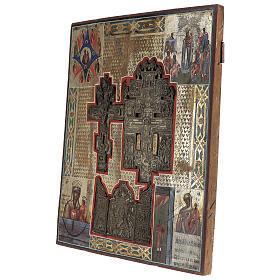 Stauroteca icona antica Russia legno metallo XIX sec 40x30 cm s5