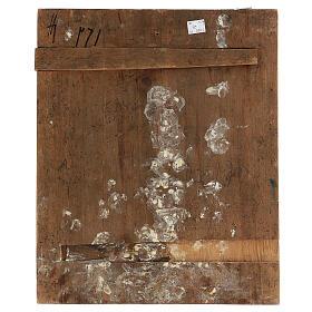 Stauroteca icona antica Russia legno metallo XIX sec 40x30 cm s6