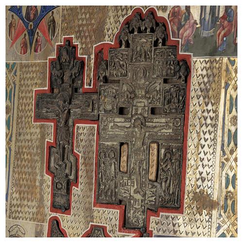 Stauroteca icona antica Russia legno metallo XIX sec 40x30 cm 2