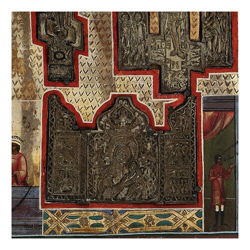 Stauroteca icona antica Russia legno metallo XIX sec 40x30 cm 3