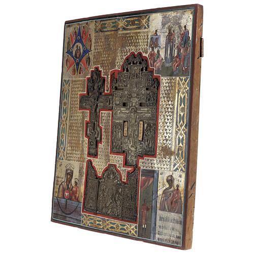 Stauroteca icona antica Russia legno metallo XIX sec 40x30 cm 5
