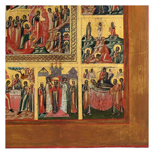 Icône ancienne Les Douze Fêtes Russie 40x30 cm 3