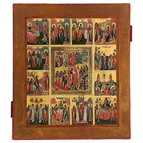 Icona Le Dodici Feste Russia antica 40x30 cm s1