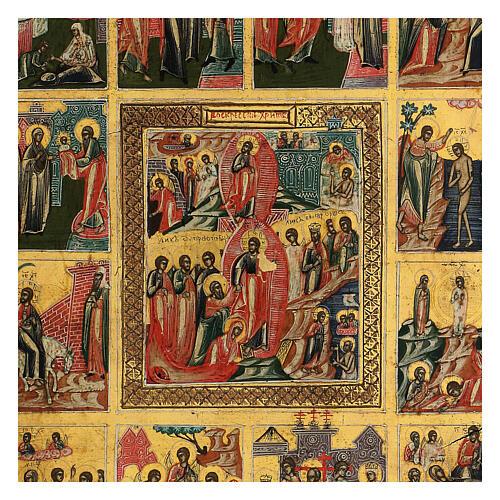 Icona Le Dodici Feste Russia antica 40x30 cm 2