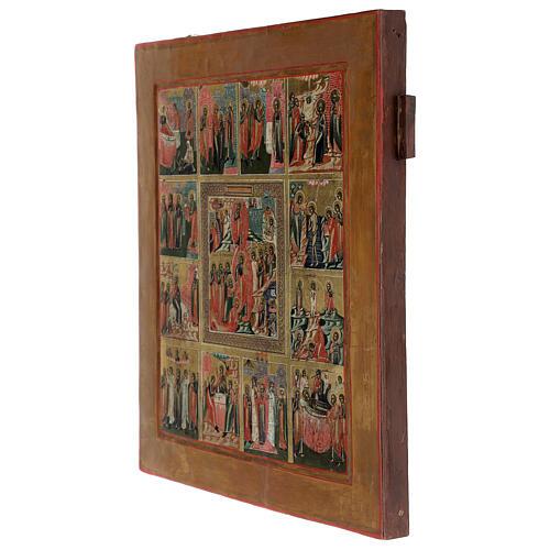 Icona Le Dodici Feste Russia antica 40x30 cm 4