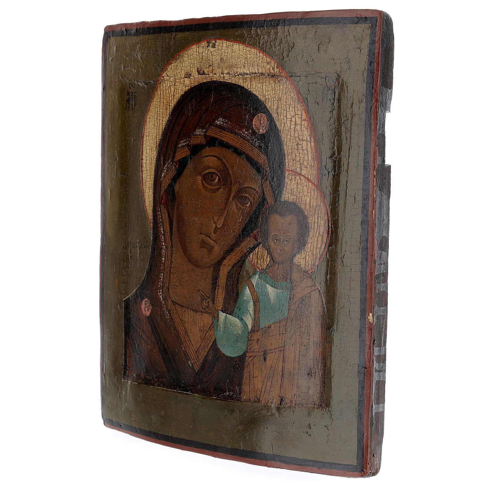 Icona antica Madonna di Kazan XIX sec Russia 30x20 cm 4