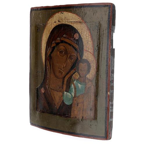 Icona antica Madonna di Kazan XIX sec Russia 30x20 cm 3