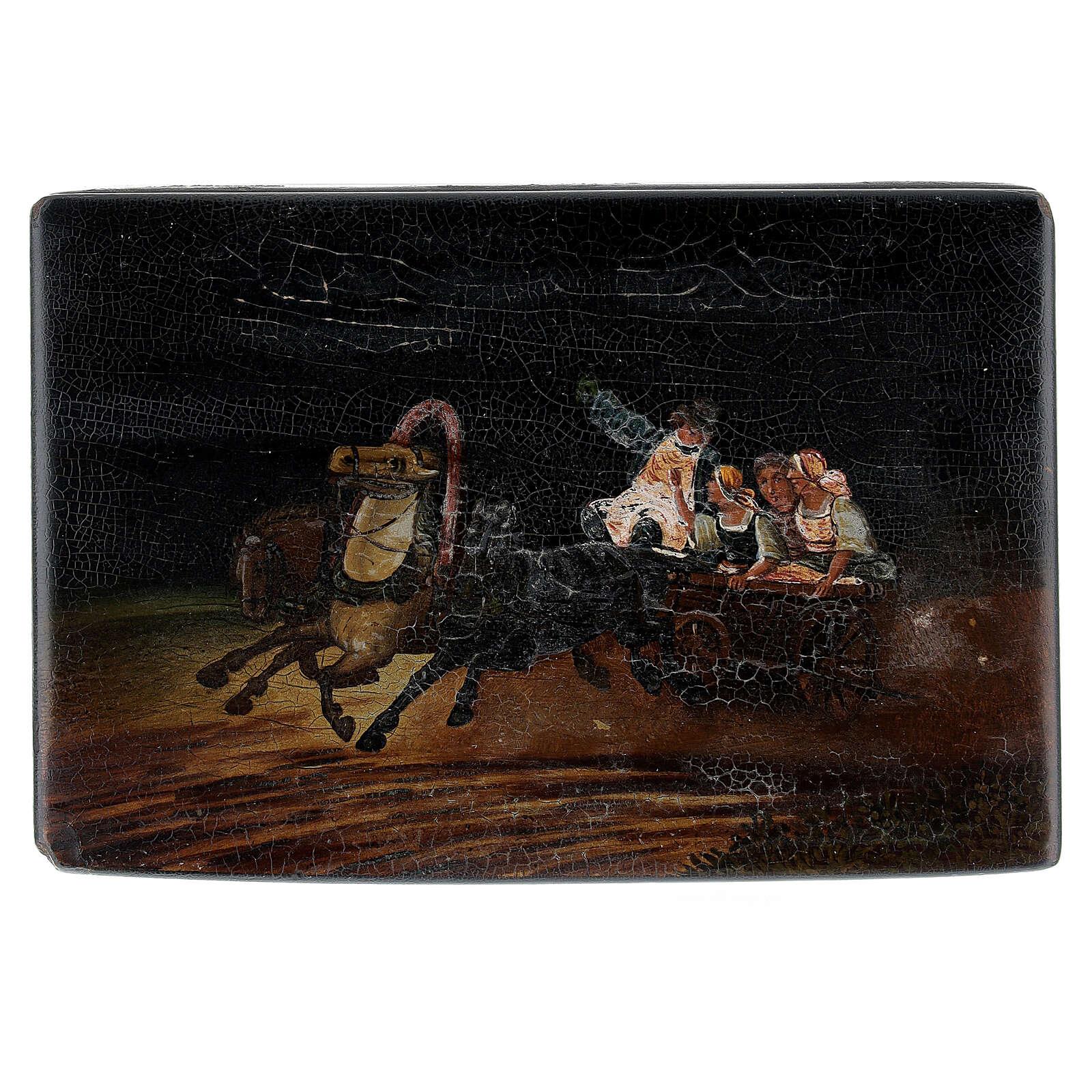 Scatola lacca russa antica scena sul carro 15x10x5 cm 4