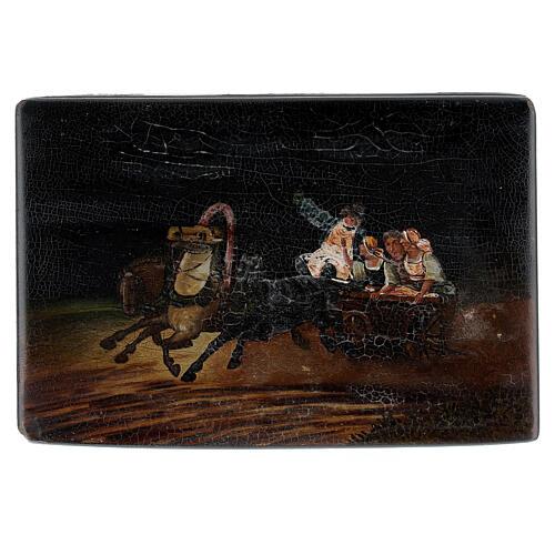 Scatola lacca russa antica scena sul carro 15x10x5 cm 1