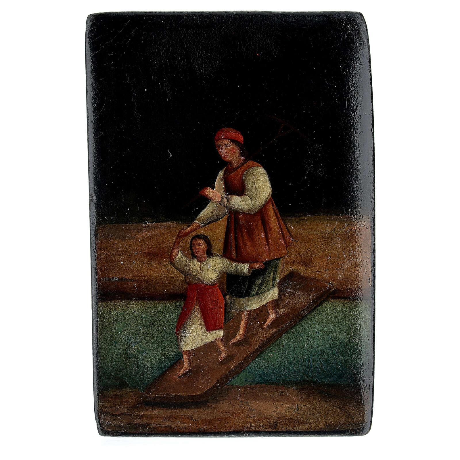 Scatola lacca russa antica Traversata del Fiume 5x10x15 cm 4