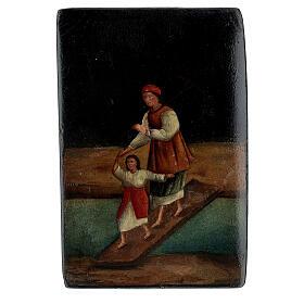 Scatola lacca russa antica Traversata del Fiume 5x10x15 cm s1