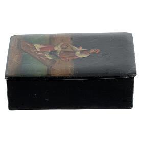 Scatola lacca russa antica Traversata del Fiume 5x10x15 cm s2