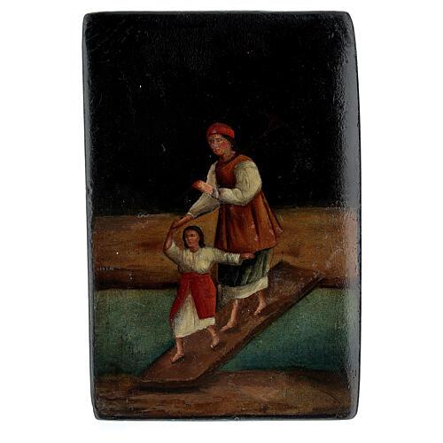 Scatola lacca russa antica Traversata del Fiume 5x10x15 cm 1