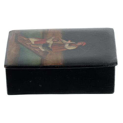 Scatola lacca russa antica Traversata del Fiume 5x10x15 cm 2