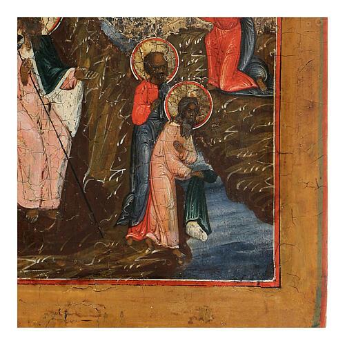 Icône russe ancienne Ascension au Ciel du Prophète Élie XIX siècle 4