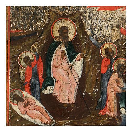 Icona russa Ascesa in Cielo del Profeta Elia antica XIX sec 2