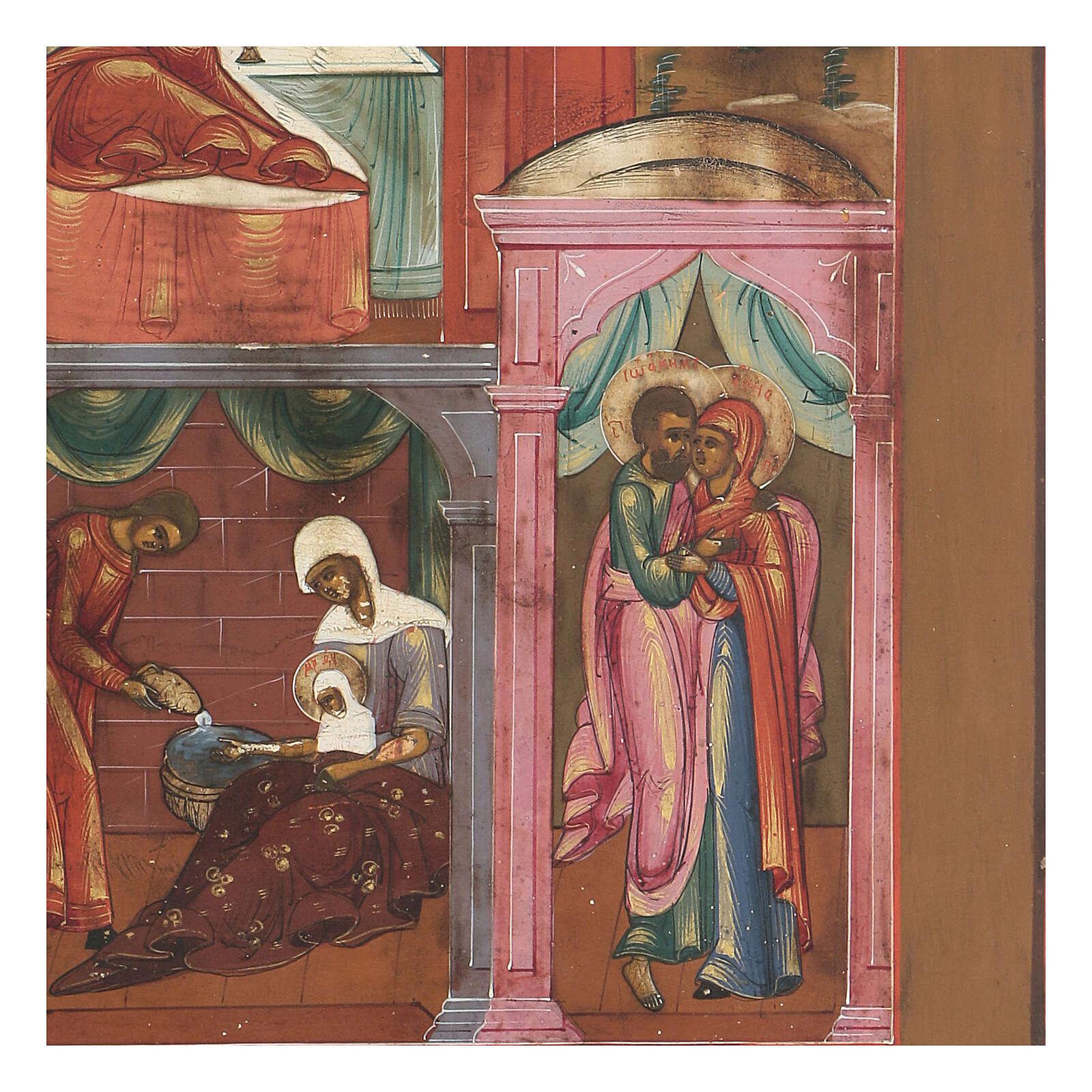 Icona antica Nascita di Maria Russia inizio XIX sec 4