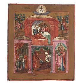 Icona antica Nascita di Maria Russia inizio XIX sec s1