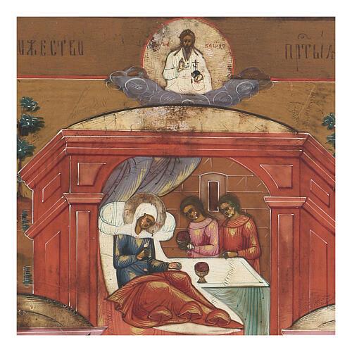 Icona antica Nascita di Maria Russia inizio XIX sec 2