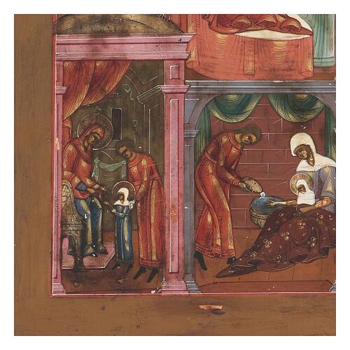 Icona antica Nascita di Maria Russia inizio XIX sec 3