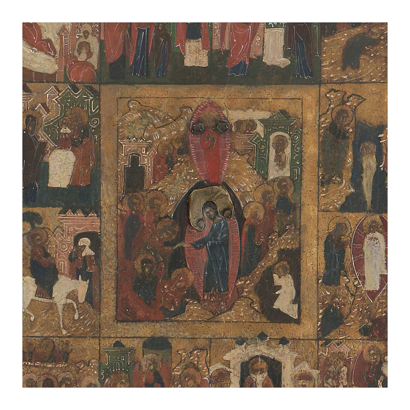 Icona antica Dodici Feste basma Russia inizio XIX sec 4